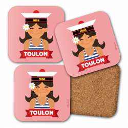 set of 4 coasters Sailor girl