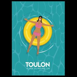 swimming girl yellow - poster